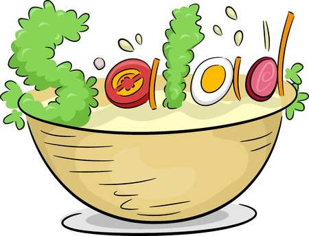 Text Illustration Depicting Vegetable Salad Stock Illustration - 13898779