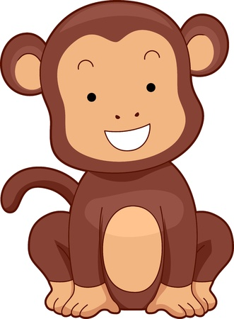 Illustration of a Monkey Smiling Brightly illustration