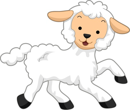 ovine: Illustration Featuring a Happy Lamb