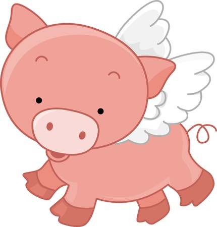 Illustration of a Winged Pig illustration