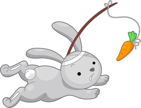 chasing: Illustration of a Rabbit Running After a Carrot