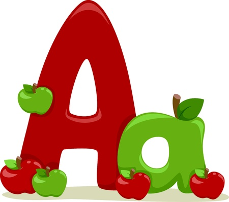 apple clipart: Illustration Featuring the Letter A Stock Photo
