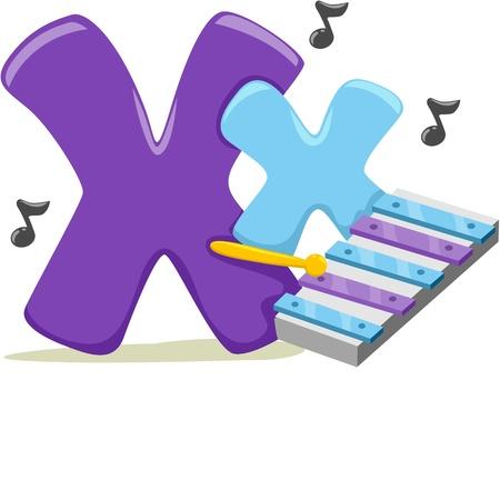 xylophone: Ilustraci�n que ofrece la letra X