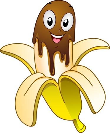 platano caricatura: Mascota ilustración que ofrece un plátano cubierto de chocolate