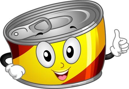 processed food: Illustrazione mascotte di cibo in scatola