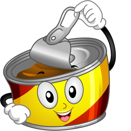 processed food: Mascot Illustration of a Canned Food