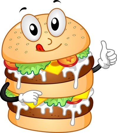 Mascot Illustration Featuring a Burger with Double Patties illustration