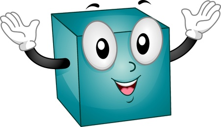 basic shapes: Mascot Illustration Featuring a Happy Cube