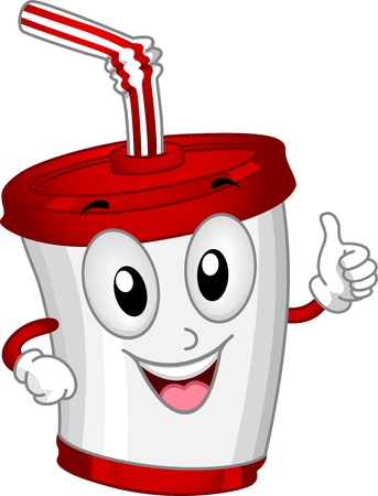 softdrink: Mascot Illustration Featuring a Plastic Cup Stock Photo