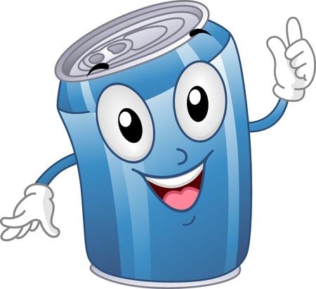 gaseosas: Mascot Ilustraci�n con una lata de refresco