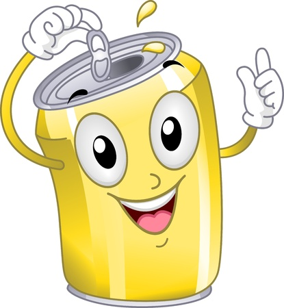 gaseosas: Ilustraci�n Mascota Con una lata de refresco