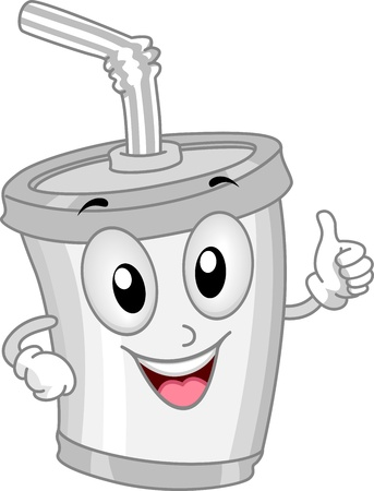 refreshments: Mascot Illustration Featuring a Plastic Cup Stock Photo