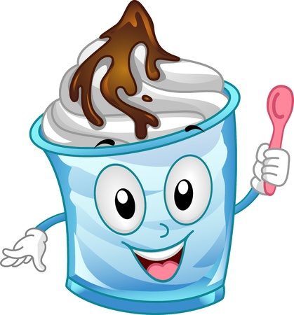 ice cream cartoon: Mascot Illustration Featuring a Sundae Stock Photo