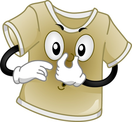 soiled: Mascot Illustration Featuring a Dirty T-shirt Stock Photo