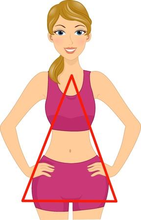 body shape: Illustrazione di una donna con una forma triangolare del corpo