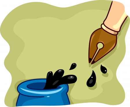 dipped: Illustration of a Fountain Pen Being Dipped in Ink Stock Photo
