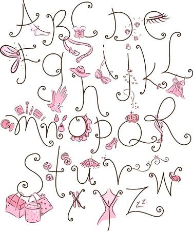 Illustration of a Girly alphabet illustration