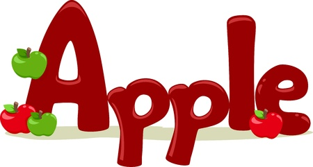 Text Illustration Featuring the Word Apple illustration