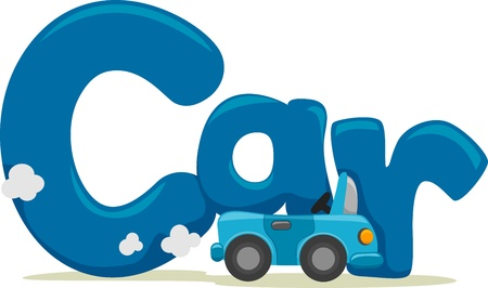 Text Illustration Featuring the Word Car illustration