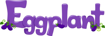 Text Illustration Featuring the Word Eggplant illustration