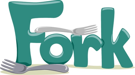 featuring: Text Illustration Featuring the Word Fork