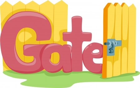entrance gate: Text Illustration Featuring the Word Gate