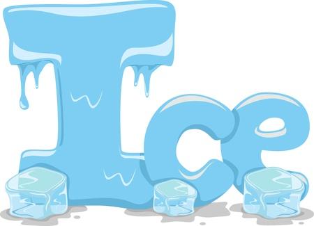 ice alphabet: Text Illustration Featuring the Word Ice Stock Photo