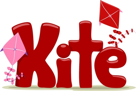 Text Illustration Featuring the Word Kite illustration
