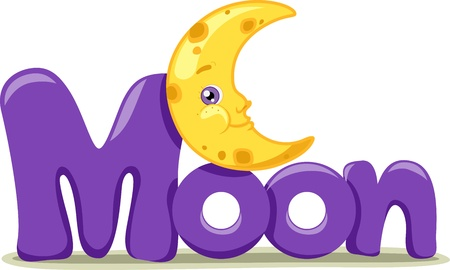 Text Illustration Featuring the Word Moon illustration