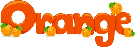 learning materials: Text Illustration Featuring the Word Orange