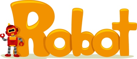 educational subject: Text Illustration Featuring the Word Robot Stock Photo