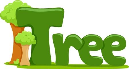 Text Illustration Featuring the Word Tree illustration