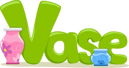 Text Illustration Featuring the Word Vase Stock Photo