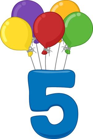 five objects: Illustrazione Con il numero 5