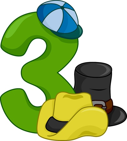 three objects: Illustration Featuring the Number 3 Stock Photo