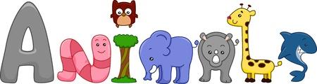 Text Illustration Featuring Different Animals illustration