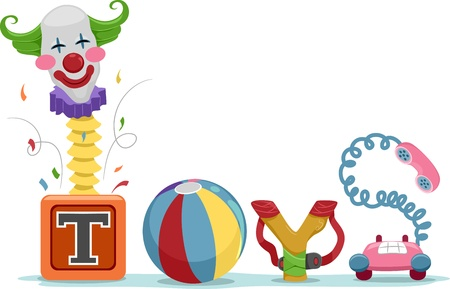 kindergarten toys: Text Illustration Featuring Toys Stock Photo
