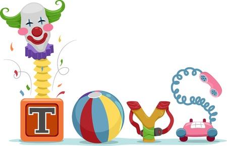 kindergarten toys: Text Illustration Featuring Toys Stock Photo