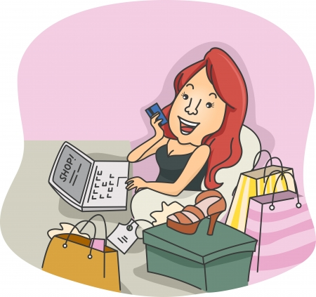 Illustration of a Girl Doing Some Online Shopping illustration