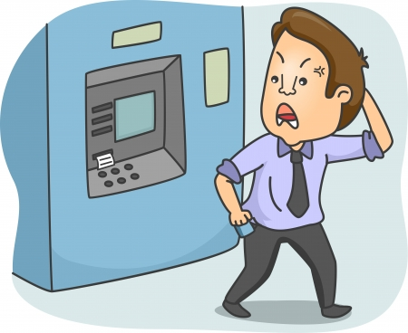 Illustration of a Frustrated Man Walking Away from an ATM illustration