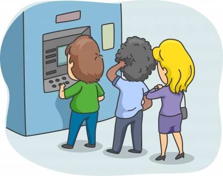 waiting in line: Illustration of People Queuing in Front of an ATM Stock Photo