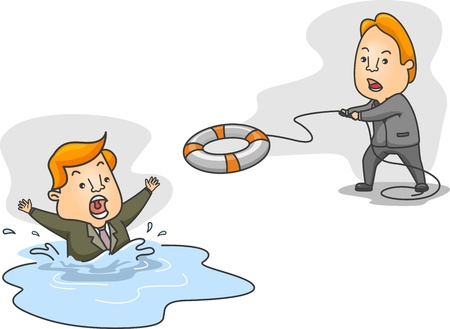 floater: Illustration of a Man Helping a Drowning Man