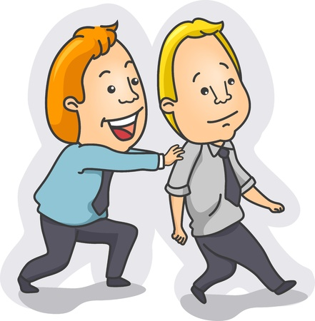 Illustration of a Man Pushing Another Man Forward illustration