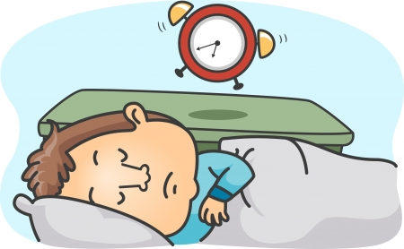 oversleep: Illustration of a Man Oversleeping