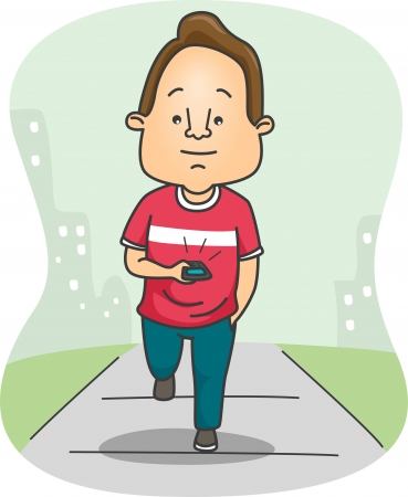 Illustration of a Guy Texting While Walking illustration