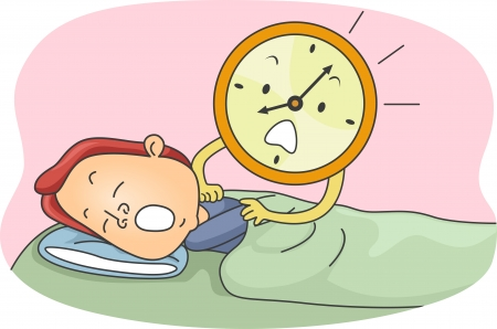 oversleep: Illustration of an Alarm Clock Waking a Man Up