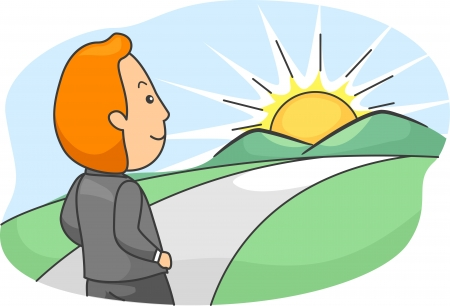 bright future: Illustration of a Man Walking Towards a Bright Future