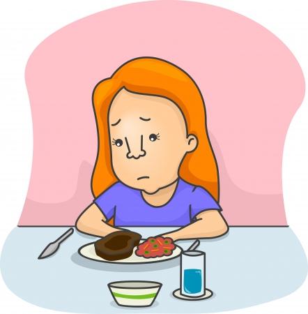 Ilustración de una niña no está de humor para comer