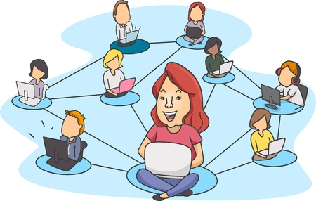 peoples: Illustration of People Demonstrating Social Networking Stock Photo