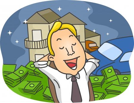 materialistic: Illustrazione di un Daydreaming Guy Informazioni sul Good Life